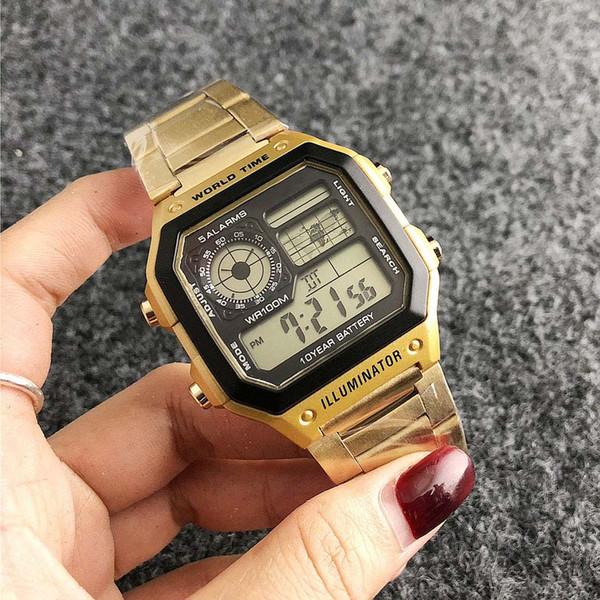 Moda Marca CAS Relojes Hombre Acero Metal Pantalla LED Multifunción Reloj de pulsera impermeable GA 13