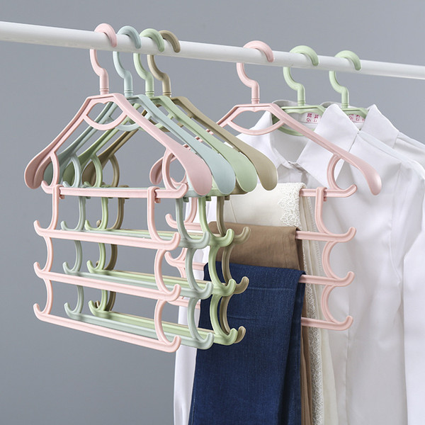 Factory direct plastic clothes hanging multi-layer storage multi-function hanger four-layer towel hanging clothes pants rack 42.5*37.5cm 5pc