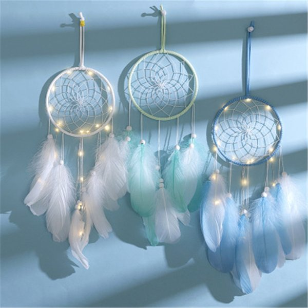 top popular LED Feather wind chimes Dreamcatcher Girl Catcher Network LED Light Dream Catcher Bed Room Hanging Ornament Accessories pendant 2021