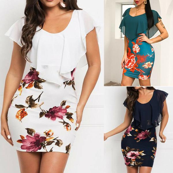Лето Boho Стиль Женщины V-образным вырезом драпированные оборками Vintage мини-платье с коротким рукавом с цветочным принтом Bodycon Party платья миди