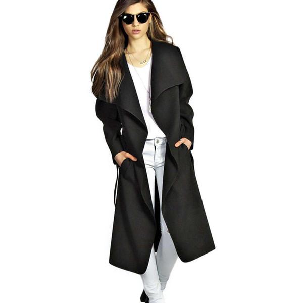 2019 frauen Wintermantel Gürtel Breite Revers Tasche Wollmischung Lange Übergroße Rote Wolle Oberbekleidung Weiblichen Mantel freies verschiffen