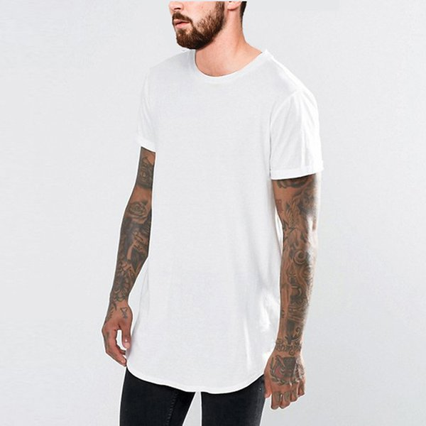 19SS Summer New T shirt Men Black White Long Tees Short Sleeved Curved Longline Tees