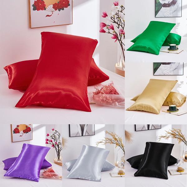 2 teile / satz Silk Satin Kissenbezug Komfortable 51 * 76 cm Reine Emulation Kissenbezug Kissenbezug Für Bett Werfen Einzel Kissenbezüge Fall