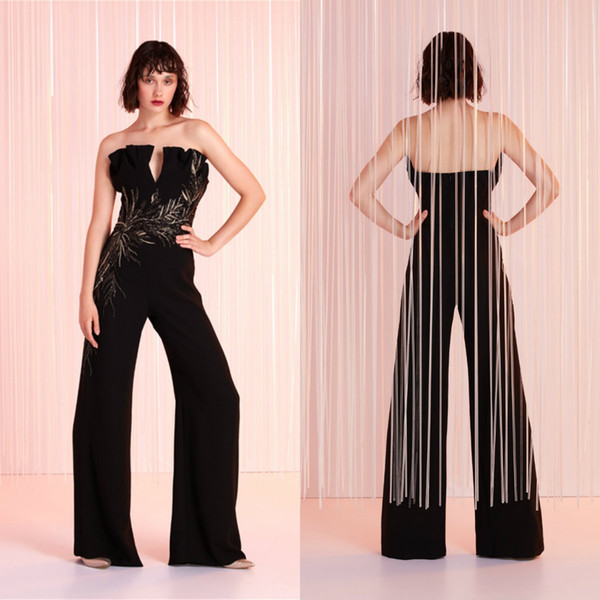 Tony Ward 2020 Evening Dresses Women Jumpsuits Satin Appliqued Strapless Prom Dress Party Wear Custom Made Black Formal Gowns