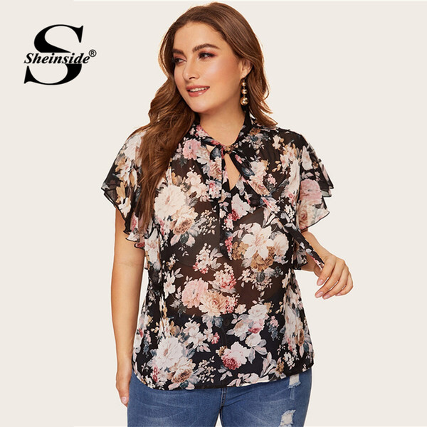 Sheinside Plus Size Elegante Blumendruck Chiffon Bluse Frauen 2019 Sommer Volant Ärmel Blusen Damen Fliege Neck Top