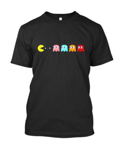 New Retro Gaming C64 PACMAN & GHOSTS Atari Video Games Cool 80s Size M-5XL Men's Clothing Tees Printed Fashionable Round
