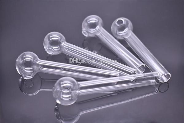 4 zoll 10 cm Länge Pyrex Glas Ölbrenner Rohr gerade Klar Günstige Glas Ölnagel Rohr Wasser Handrohre zum Rauchen