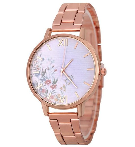 2019 new fashion creative flower steel belt bracelet watch student casual simple color alloy quartz watch