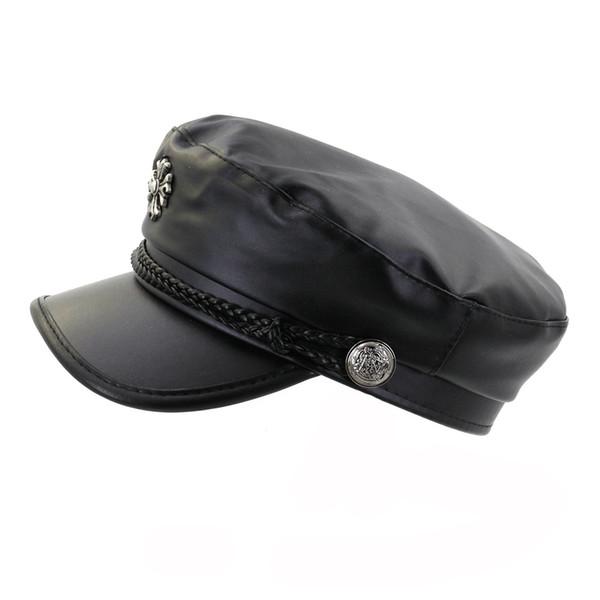 Moda donna in pelle nera cappello militare Cap Cabbie con cappuccio treccia Donna Cappelli con visiera Cappelli con visiera piatta Cappellino con visiera parasole da esterno