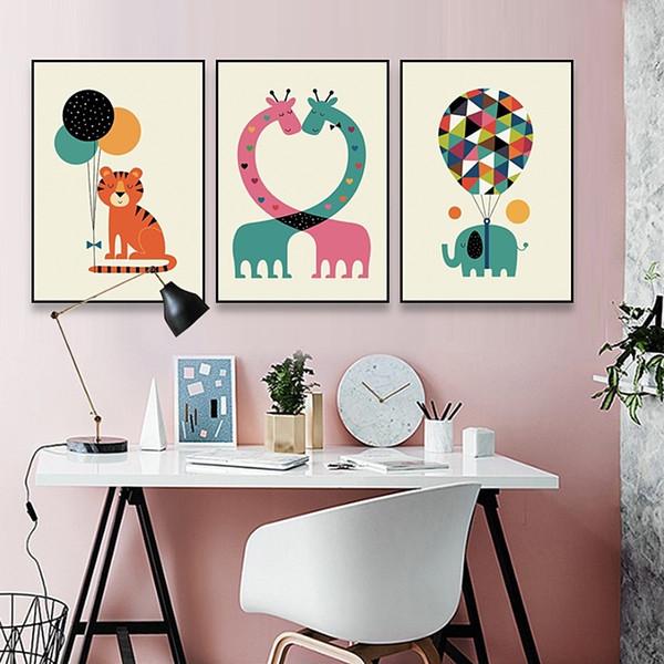 Unframed Kawaii Animal Giraffe Elephant Poster Printing Modern Nordic Cartoon Nursery Wall Art Decoration Painting Children Baby Room