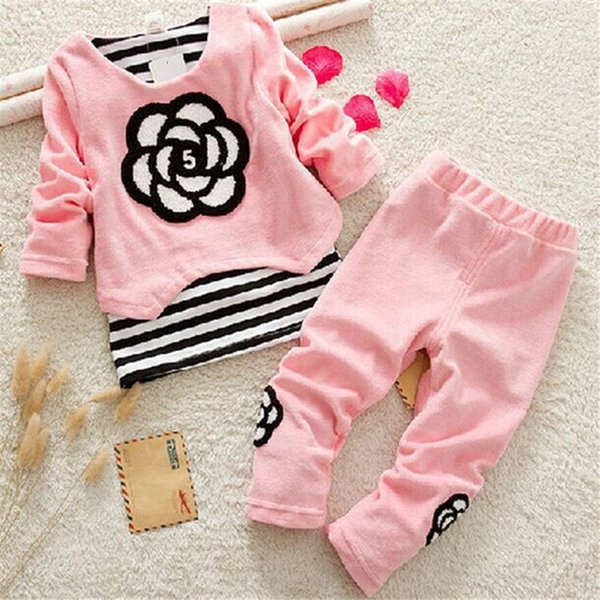 good quality 2019 Baby Girls Clothing Sets Newborn Tracksuits Striped Flower Tops +Pants Infant 2pcs Sport Suit Baby Colthes Set