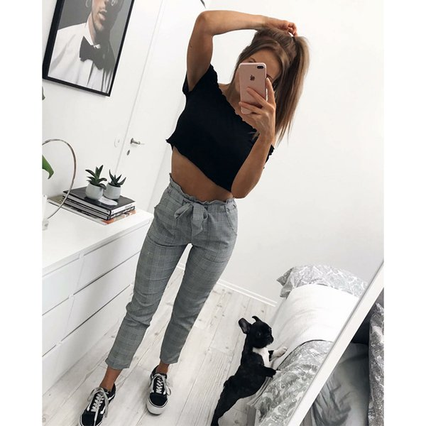 2019 Nuovi eleganti pantaloni scozzesi a pied de poule retro ufficio lady wear moda casual con pantalone