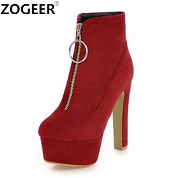 Nova Zipper 2018 Sexy Mulheres Botas Plataforma de Moda de salto alto Ankle Boots Vermelho Preto Para A Mulher Rebanho Partido Boate Senhoras sapatos