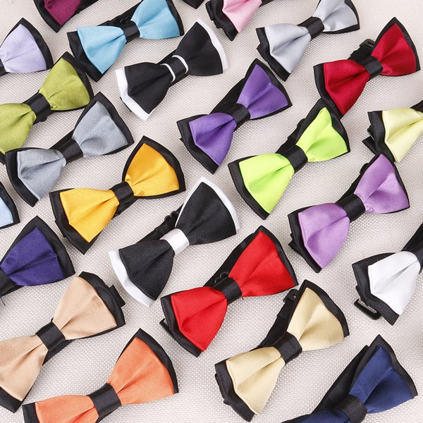 Wedding Classic Kid Suit Neckwear Baby Boy's Baby Fashion Solid Color Adjustable Bowtie Children Two Tone Pet Dog Cat Bow Tie