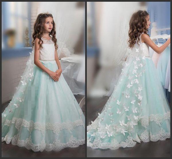 Prinzessin Weihnachten Blumenmädchenkleider Für Hochzeiten Ärmellose Schmetterlingsapplikationen Schöne Mädchen Festzug Kleid Mit Wickel Kids Party Drees