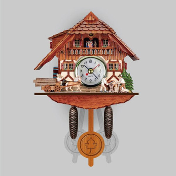 Wooden Hanging Cuckoo Wall Clock Home Furniture And DIY Bird Time Bell Swing Alarm Watch Household Art Decor Display