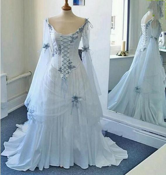 Pale Blue Lace-up Medieval Bridal Gowns Scoop Neckline Corset Long Bell Sleeves Appliques Flowers Vintage Celtic Wedding Dresses