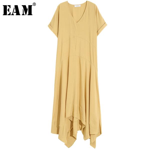 [EAM] 2019 New Spring Summer V- Neck Short Sleeve Yellow Irregular Hem Loose Long Big Size Temperament Dress Women Fashion JU352