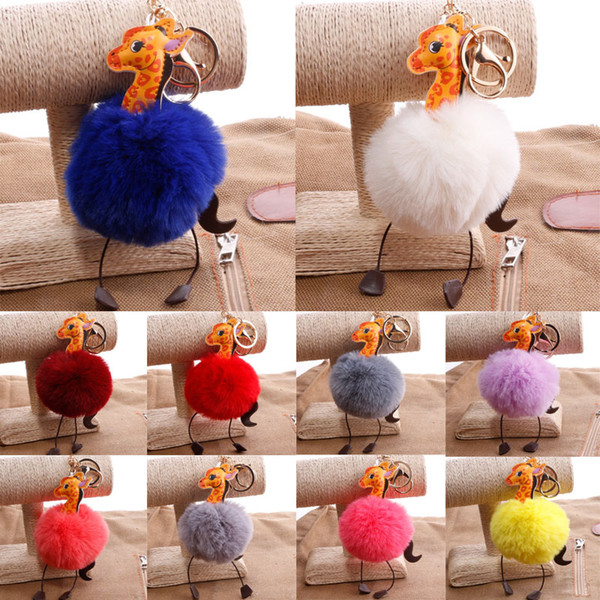 Free DHL Cartoon PU Leather Giraffe Fluffy Key Chains Fur Ball Key Rings PomPom Keychain Bag Pendant Fashion Keychains 18 Styles G251Q F