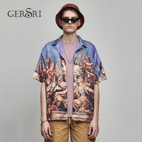 Gersri havaiano camisa de verão casuais camisas de impressão homens plus size férias tops moda regular fit algodão dos homens de manga curta y19070301