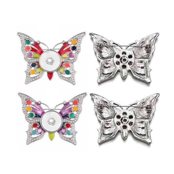 Interchangeable Papillon 016 Broche 18mm Snap Bouton Charme Bijoux De Mode Pour Les Femmes Fille Adolescents Panneau D'affichage Broche Cadeau