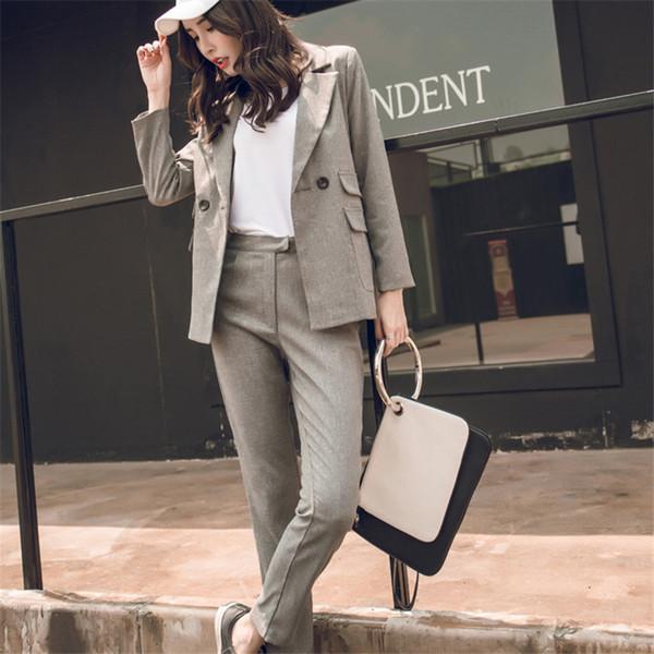 Mulheres Terno Cinza Casual Blazer Calça De Cintura Alta Senhora Escritório Ternos Jaqueta Pant Femme Coreano 2 Peças Set J190718