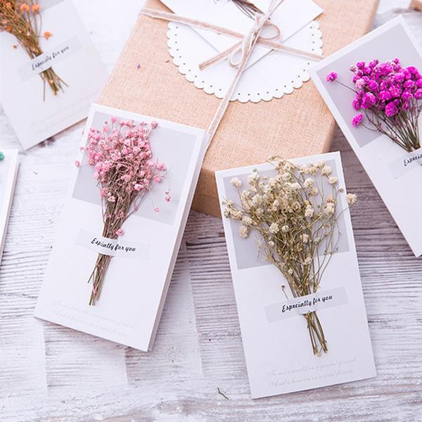 Gypsophila Dried Flowers Handwritten Blessing Greeting Card Birthday Gift Card Wedding Invitations Postcard Party Decoration Birthday Card Designs