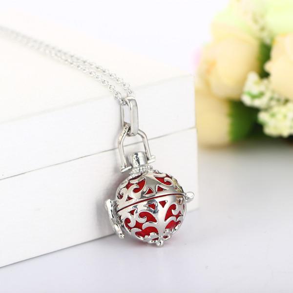 Diy joyería de las mujeres de aceite esencial de aromaterapia difusor collares jaula colgante medallón collar cadena ajustable regalo del día de san valentín b439q f