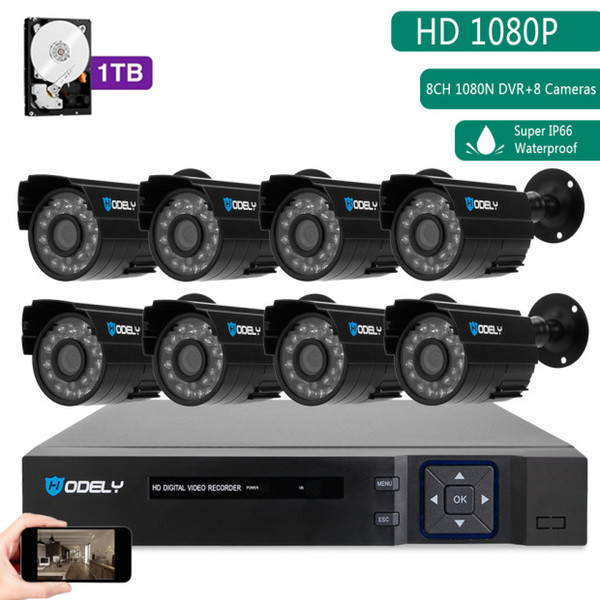 Hodely 8-Channel 1080N H Indoor/Outdoor DVR Kit with 8pcs 720P 1/4 Color CMOS Camera Black 1TB HDD