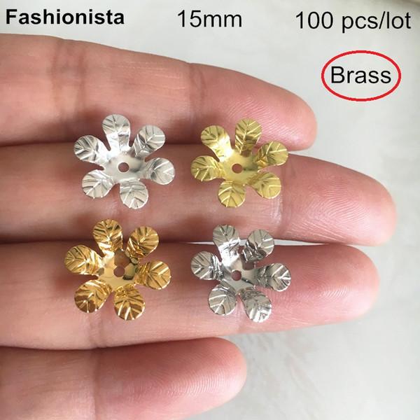100 pezzi -15mm Berretti di perle di fiori in filigrana d'ottone, 6 fiori di metallo petalo, color oro, colore argento, colore acciaio, gioielli per headware fai da te -XP