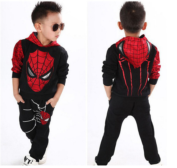 2018 весна осень тролли новая детская одежда костюм паука мальчики спортивные костюмы супергерой супермен мультфильм хлопок Swea Y190518
