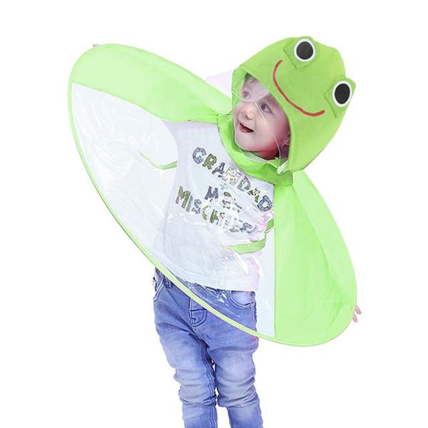 Cute Raincoat Cartoon duck Kids Rain Coat UFO Children Umbrella Hat Free Tops Boys And Girls Windproof Poncho Baby #F