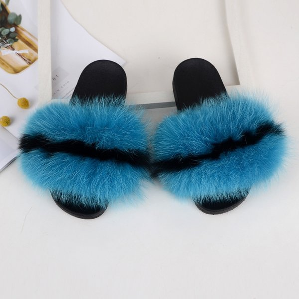 RASS PLE 2019 New Color Real Fox Fur Slippers Slides Casual Shoes Fluffy Slippers Flip Flops Furry Shoes Women