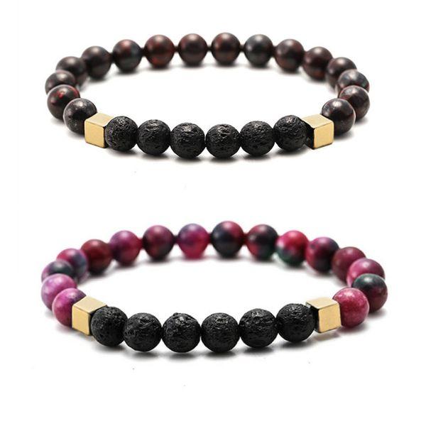 colorful Stone 8MM Black Lava Stone Beads Bracelet Volcano Rock DIY Essential Oil Diffuser Bracelet for Women Men Jewelry