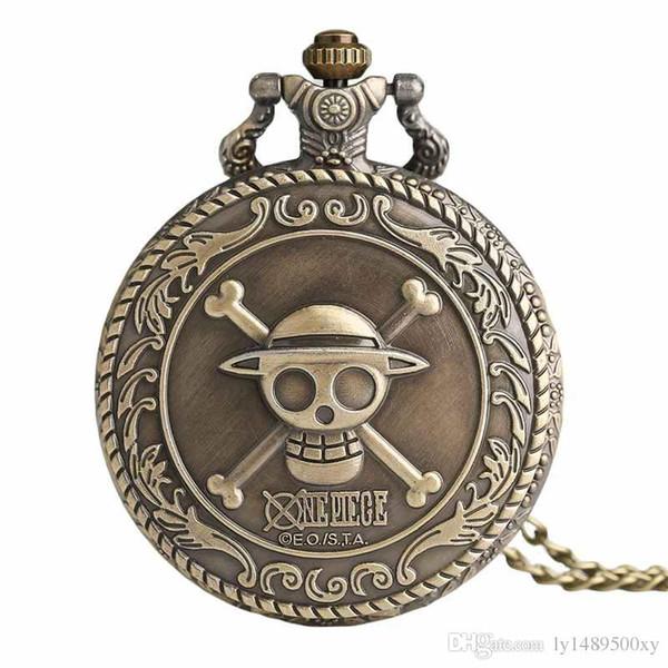 Men's Japan Cartoon Anime One Piece Pocket Watch Fashion Necklace Pendant Chain Vintage Steampunk Fob Watch Souvenir Gifts for Men Wome