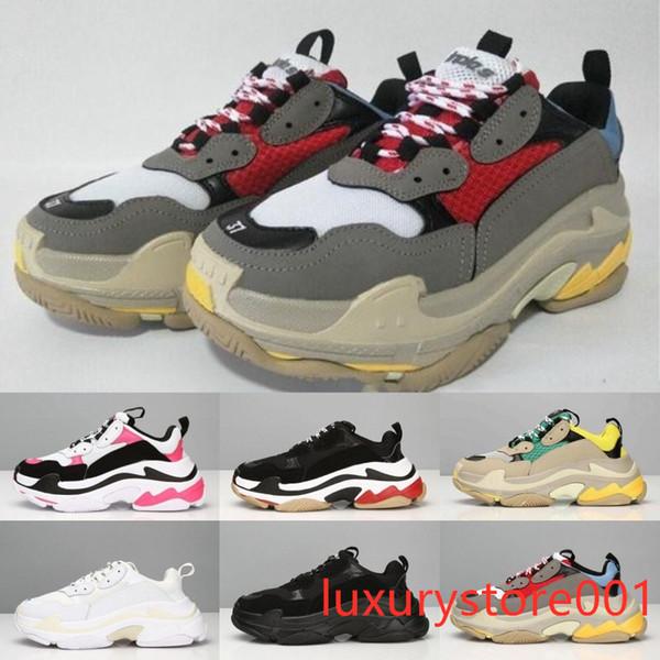 Paris 17FW Triple-S Sneaker Роскошный Дизайнер Мужская Женская Повседневная Обувь Высокого Качества Смешанные Цвета Толстый Каблук Гранд С Коробкой 7ghd