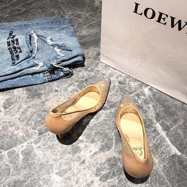 2019 talon haut Chaussures Femmes piste bout pointu Mesh haut talon Chaussures Femme Sandales