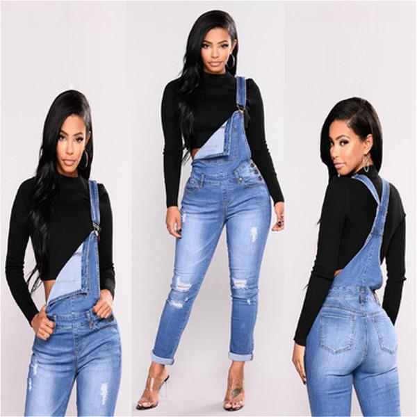 Jeans déchiré par les femmes femmes trou trou salopette longue Jeans slim salopette taille haute crayon pantalon stretch, plus la taille fermeture à glissière Jeans