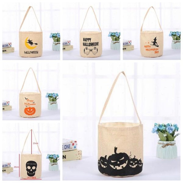Halloween seau sac en toile monogramme de sucrerie Traitez Sac citrouille Pail Panier Cadeaux Sack Sacs à main du diable de vacances 3D Prop cadeau Pouch B6107