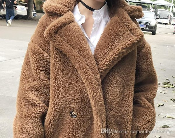 7 colors S-XL Casual Women Woolen teddy long Coat womens 2018 Winter solid color Loose Female thicking Wool Blends coat