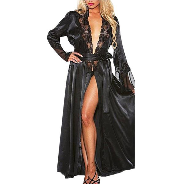 longue dentelle sexy bain kimono robe de demoiselle d'honneur lingerie robes vêtements de nuit Vintage nuit peignoir peignoir en satin robe Szlafrok