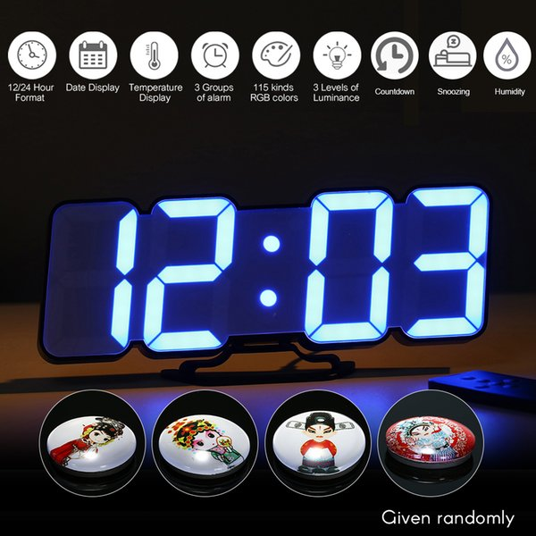 Electronic Alarm Clock Digital Table Clock Upgraded 3D Wireless Remote RGB LED Alarm Clocks USB Powered Temperature/Date Display