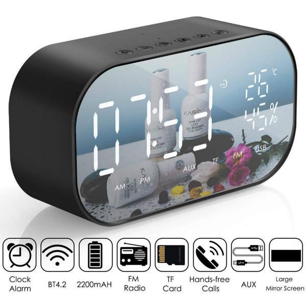LED-Wecker mit FM-Radio Bluetooth-Lautsprecher-Spiegel-Anzeige Unterstützung Aux TF USB Music Player Wireless für Office Home