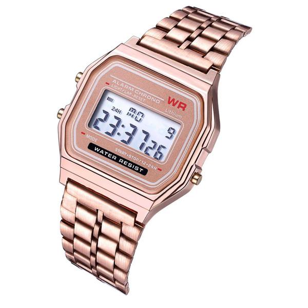 Melhor Vender Esporte Relógio LED Luxo Rose Gold Mulheres Relógios de Aço Inoxidável Mens Watch Fino Eletrônico Relógios De Pulso Relógio