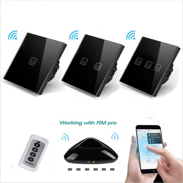EU UK Standard wireless remote control Touch Switch 1 Gang/2 Gang/3 Gang RF433 Wall Light Touch Screen Crystal Glass Panel Switch