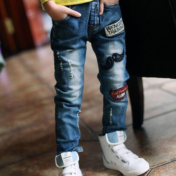 Детские джинсы Весенние и осенние брюки Узкие брюки для мальчиков Повседневная эластичная джинсовая детская одежда Y19051504