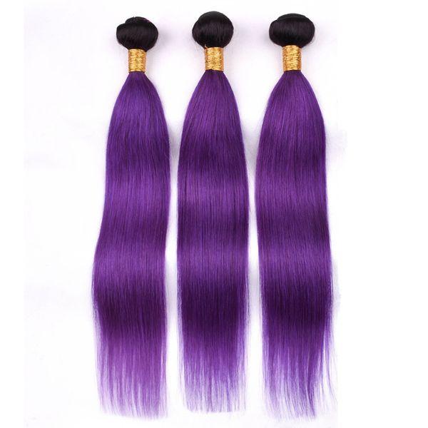 Малайзийские человеческие волосы Ombre Purple Weave Связки 3шт / много шелковистая прямая # 1B / Фиолетовый Ombre Virgin Remy Уток человеческих волос 10-30