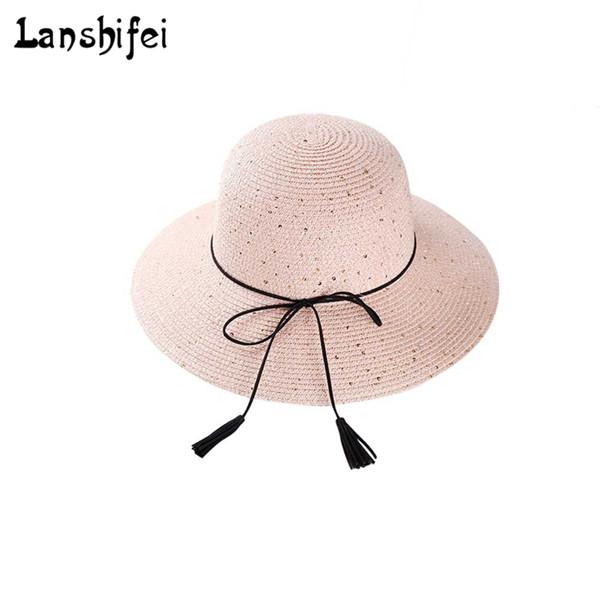 Summer Straw Hat Women Wide wide Brim Beach Hat Sun Foldable Sun Block UV Protection Panama ladies Cap Bone Chapeu Feminino