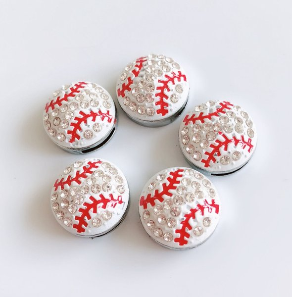 10PCs 8MM Rhinestone Baseball Slide Charms Beads Fit 8mm Pet Collar Name Belts Bracelets Phone Tags