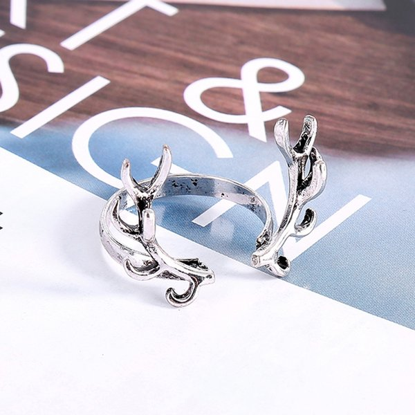 Retro Unclosed Stylish Deer Horn Design Bright Ring Antler Shape Branch Decoration for Men and Women